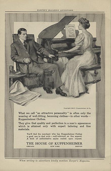 1908 Ad Kuppenheimer Mens Clothing Suit Home Scene Husband Smokes