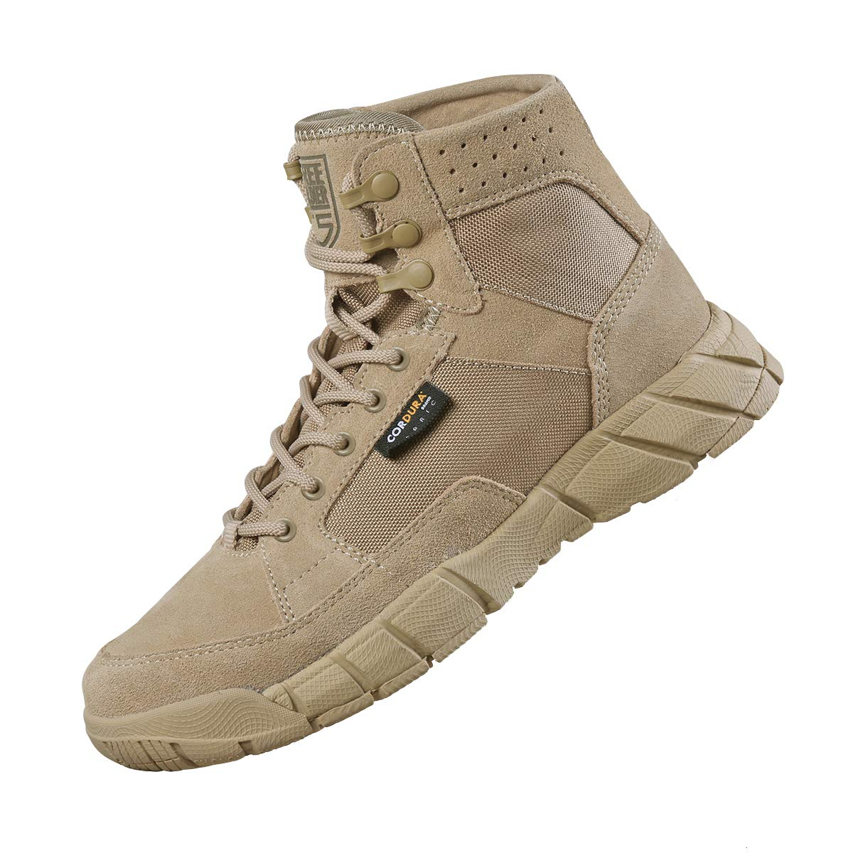FREE SOLDIER Men's Tactical Boots 6 Inches Summer Lightweight Breathable Desert Boots with Thin Durable Fabric(Tan, 9 US)