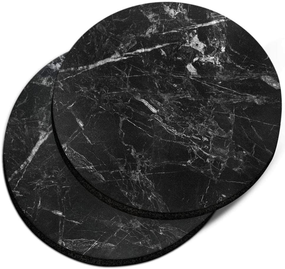CARIBOU Coasters , Cloudy Black Marble Design Absorbent ROUND Fabric Felt Neoprene Car Coasters for Drinks, 2pcs Set