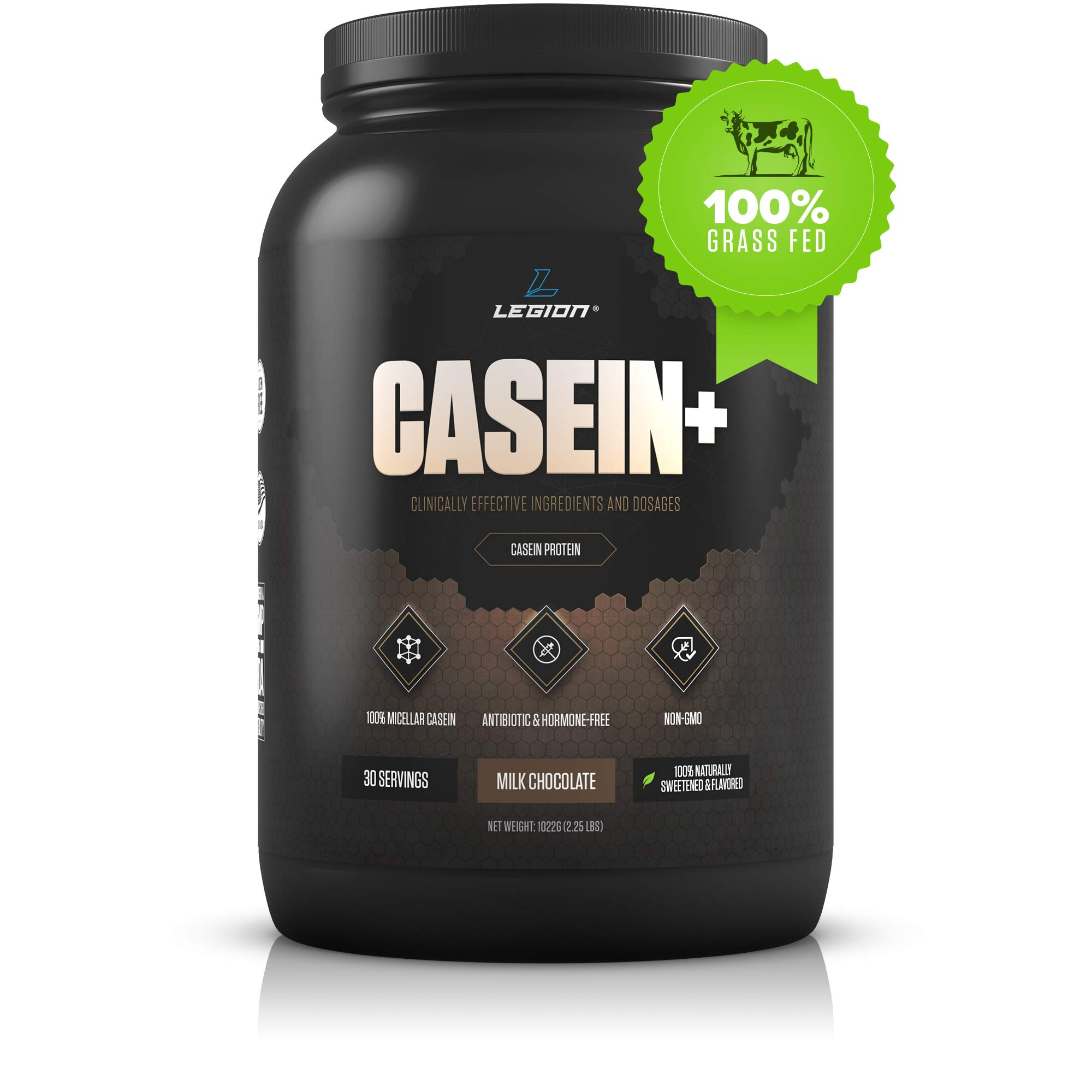 Legion Casein+ Chocolate Pure Micellar Casein Protein Powder- Non-GMO Grass Fed Cow Milk, Natural Flavors & Stevia, Low Carb, Keto Friendly - Best Pre Sleep (PM) Slow Release Muscle Recovery Drink 2lb by Legion Athletics