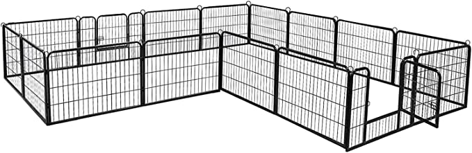 Metal TOOCA Dog Pen Fence Playpens for Dogs Foldable Barrier with Door Black Outdoor Indoor Gravity Automatic Door Lock Heavy Duty Heightening 32H x 27L inches 16 Panels