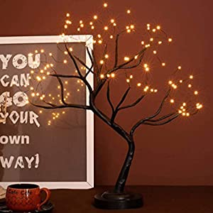 FuChsun Bonsai Tree Light 108 LED Warm White Shimmer Black Branches Battery and USB Operated (Warm White Glow Black Branch) (Warm White Glow-Black Branch)