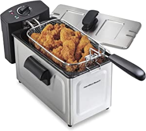 Hamilton Beach 35032 Deep Fryer, Frying Basket with Hooks, Lid with View Window, Electric, 1500 Watts Professional Grade, New for 2021, Stainless Steel