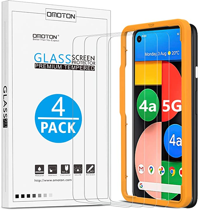 Ferilinso 4 Pack with 2 Pack Camera Lens Protector NOT Fit For 5G Edition Screen Protector for Google Pixel 4A 4G 2 Pack Tempered Glass Film for Google Pixel 4A-Transparent