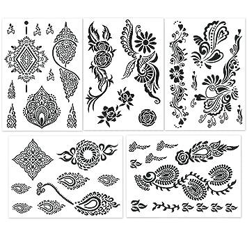 Hakuna Black Temporary Tattoos - Henna Style, Mehndi Designs, Body Art  Stickers (5 Sheets in)