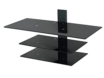 avf ps933pba wall mounted tv stand glass shelving system with safety straps