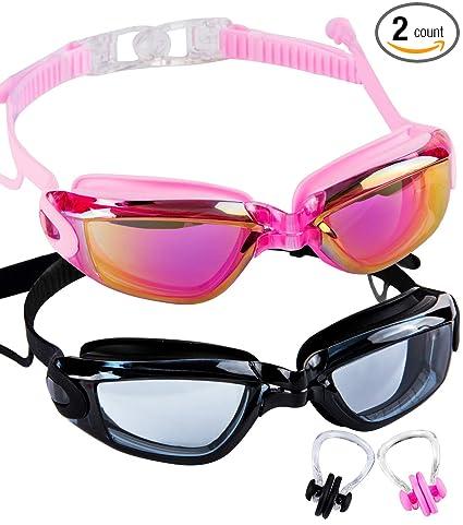 a29fd4149bc Amazon.com   SBORTI Swim Goggles 2 Pack Swimming Goggles for Adult ...