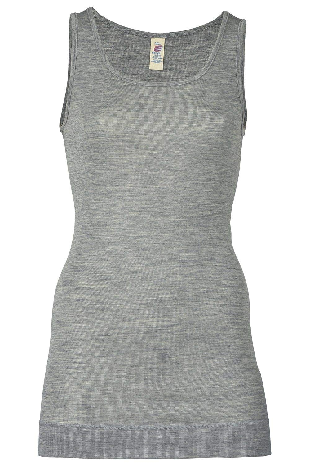 Women's Thermal Base Layer Top - Lightweight Moisture Wicking Merino Wool Silk Sleeveless Tunic (EU 38-40 | Small, Grey) by Ecoable