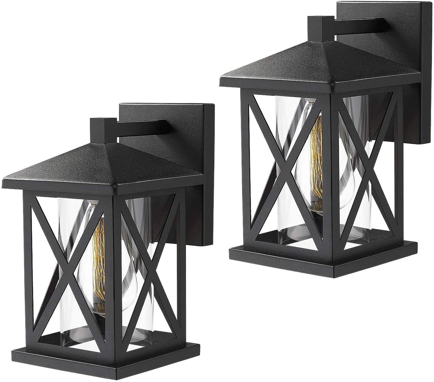 Harriet Outdoor Wall Mount Lights 2 Pack, 1-Light Exterior Sconces Lantern in Matte Black Finish with Cylinder Clear Glass Shade, 11.5 inches, HOWL02B-2P