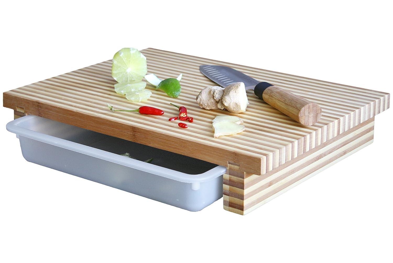cleenbo Schneidbrett bamboo bicolor XL Profi Küchenbrett aus geöltem zweischicht Bambus mit verschiebbarer Auffangschale aus lebensmittelechtem Kunststoff, Board Maße: 400 x 290 x 70 mm