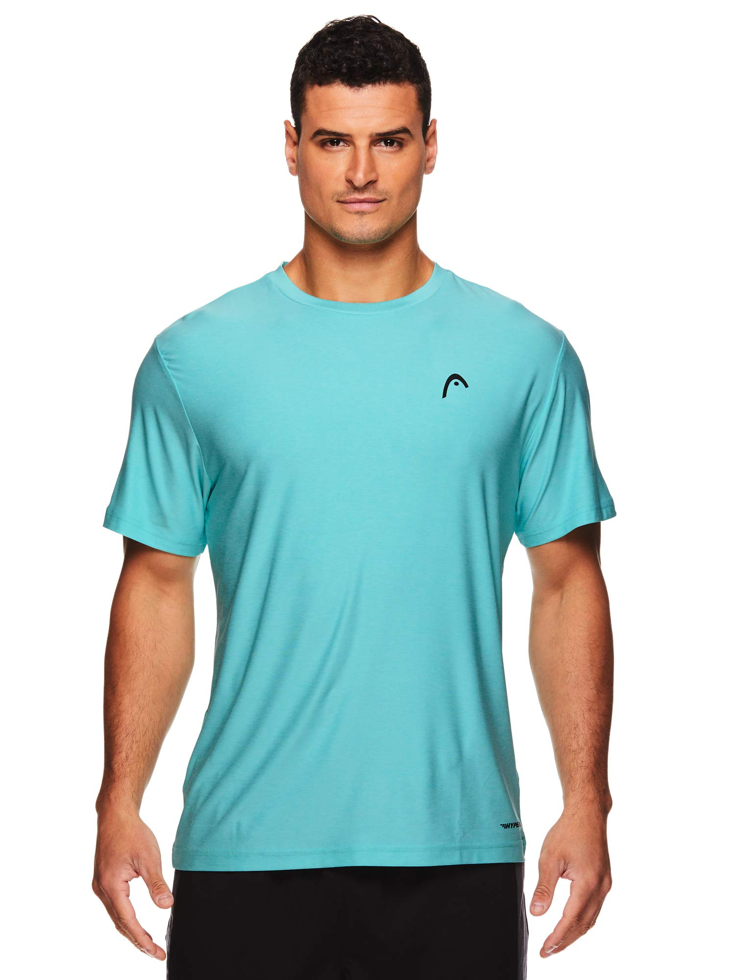 HEAD Men's Hypertek Crewneck Gym Tennis & Workout T-Shirt - Short Sleeve Activewear Top - Score Hypertek Aruba Blue Heather, Small
