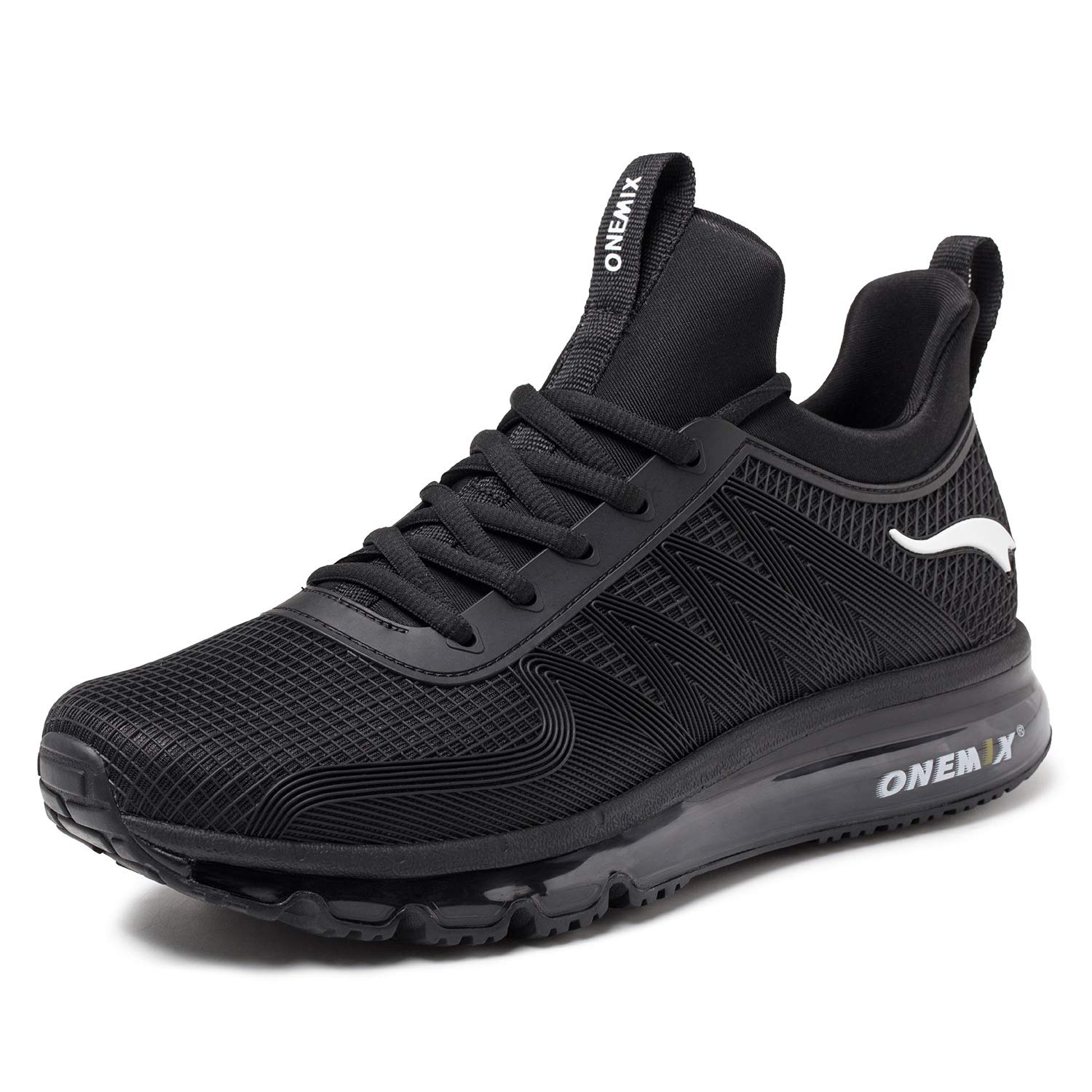 ONEMIX Mens Air Cushion Sports Running Shoes Lightweight Breathable Casual Sneakers 1191 Black 46