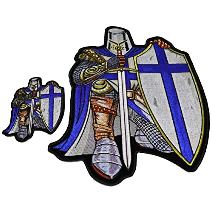 918d1414fa3 Image Unavailable. Image not available for. Color  Blue Crusader Knight  Patch Set Small ...