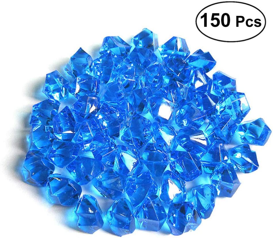 VORCOOL Piedras de Cristal de Acrílico Decorativas Piedras para Acuario Jardin Decoration para Fiesta Boda Azul 1cm 150 Piezas