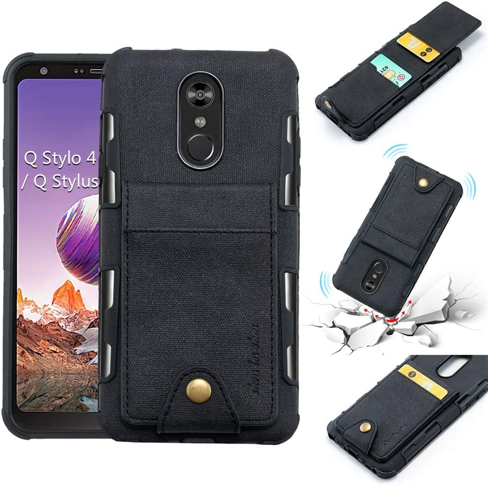 LG Stylo 4, LG Q Stylus, LG Stylo 4 Plus, Stylus 4 Wallet Case, 5 ID Credit Card Slot, Button Flip-Out Leather Drop Protection Case - Black