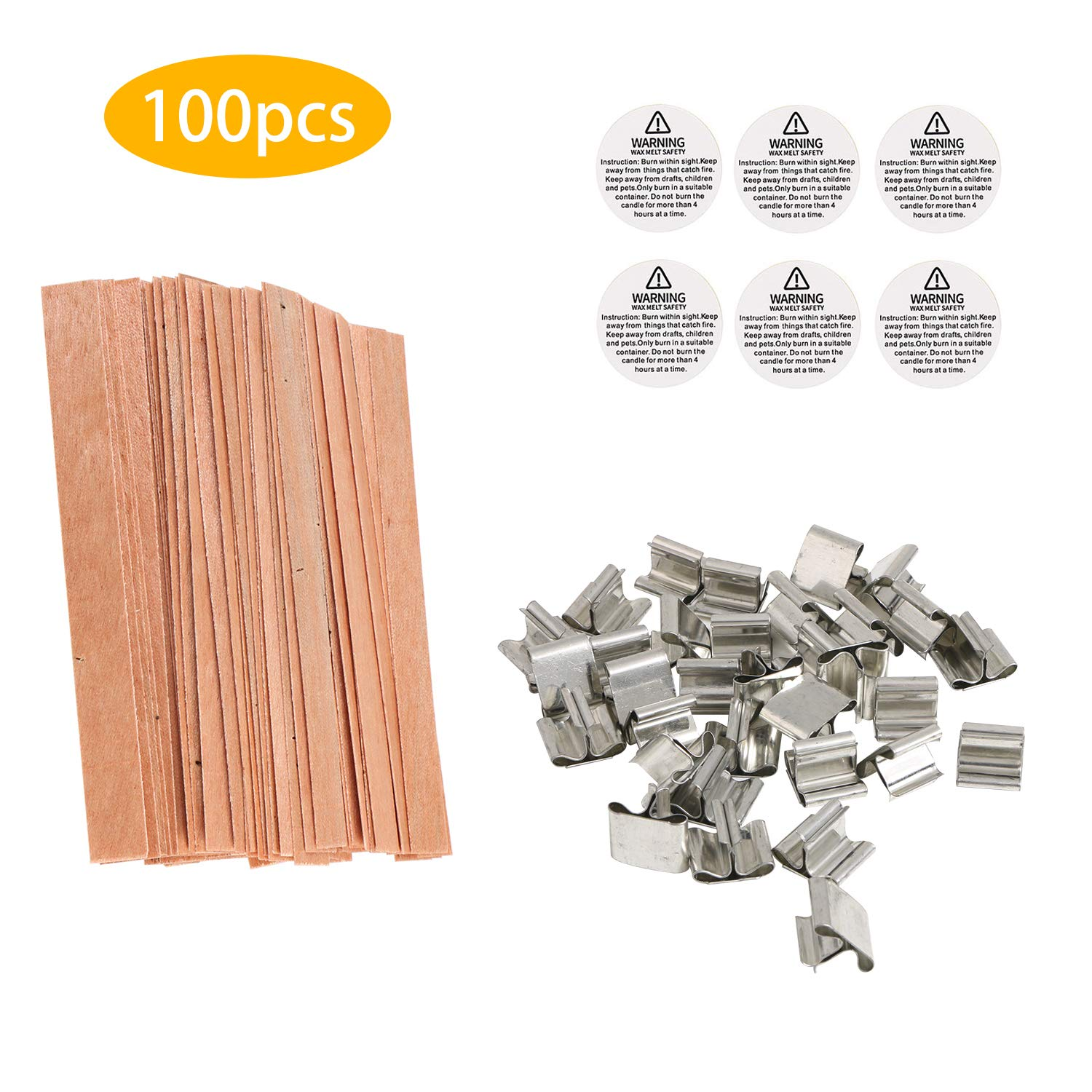 Low Smoke 100 Pieces Natural Candle Wicks 100 Pieces Stickers Benbo Candle Making DIY Kit 108 Pieces Warning Labels and 1 Piece Candle Wick Centering Device for Candle Making and Candle DIY