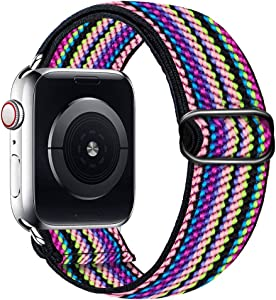 Band4u Stretchy Nylon Band Compatible with Apple Watch Band 38mm 42mm 40mm 44mm, Adjustable Braided Sport Elastics Women Men Strap Compatible with iWatch Series 6/5/4/3/2/1 SE