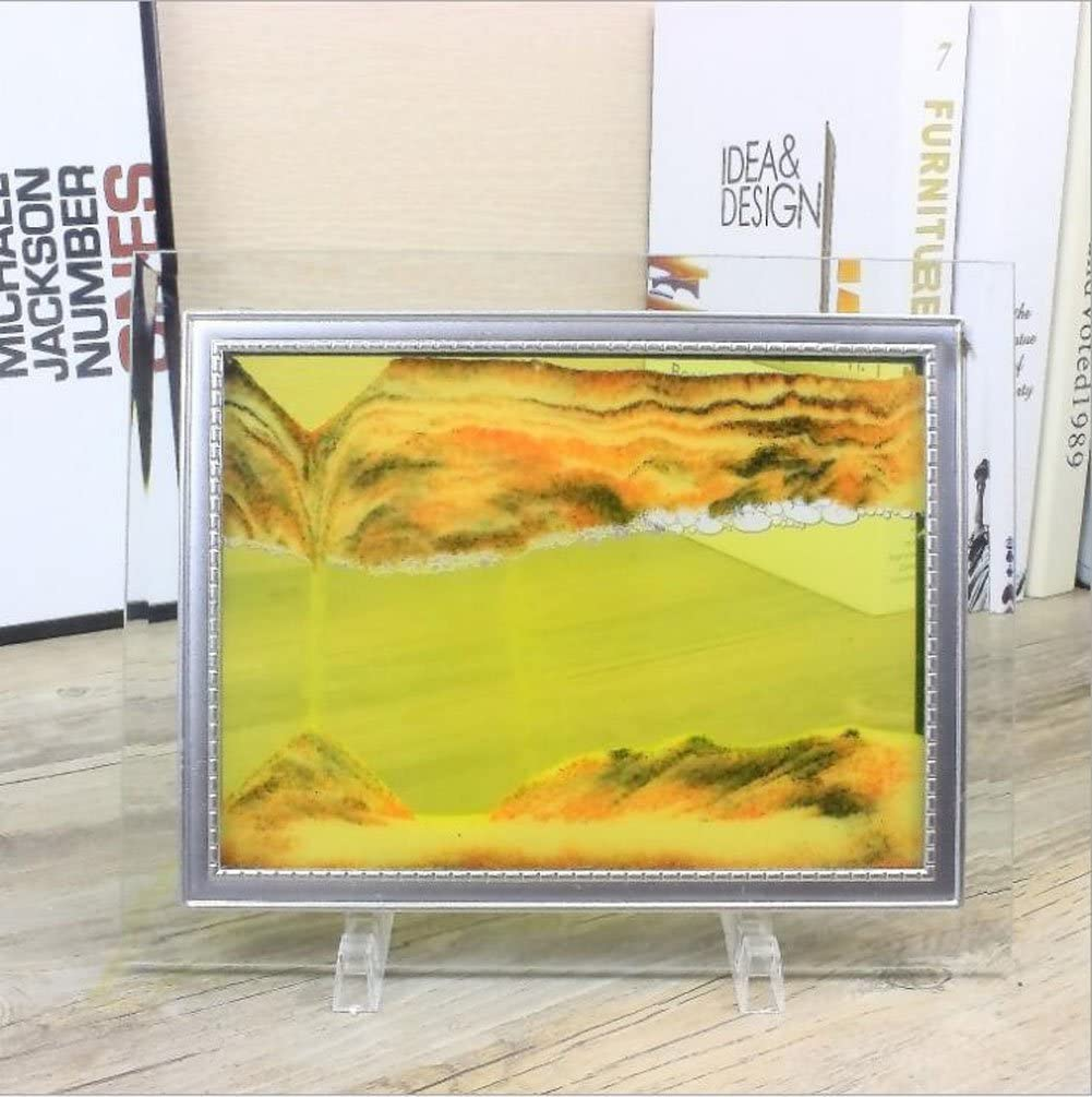 Queenie 3D Dynamic Vision Flowing Sand Painting Glass Sand Frame Moving Orange Sand Picture with Abstractive Landscape Sand Art Hourglass for Home Office Décor - 10 inch