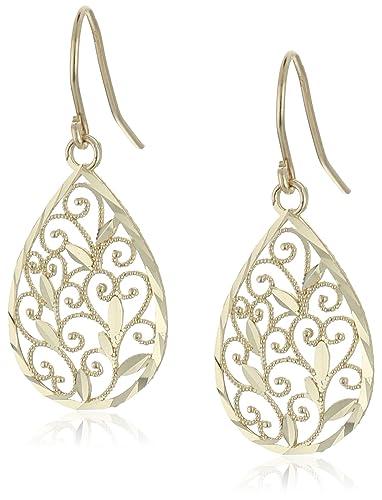 amazon com 14k yellow gold filigree teardrop earrings jewelry