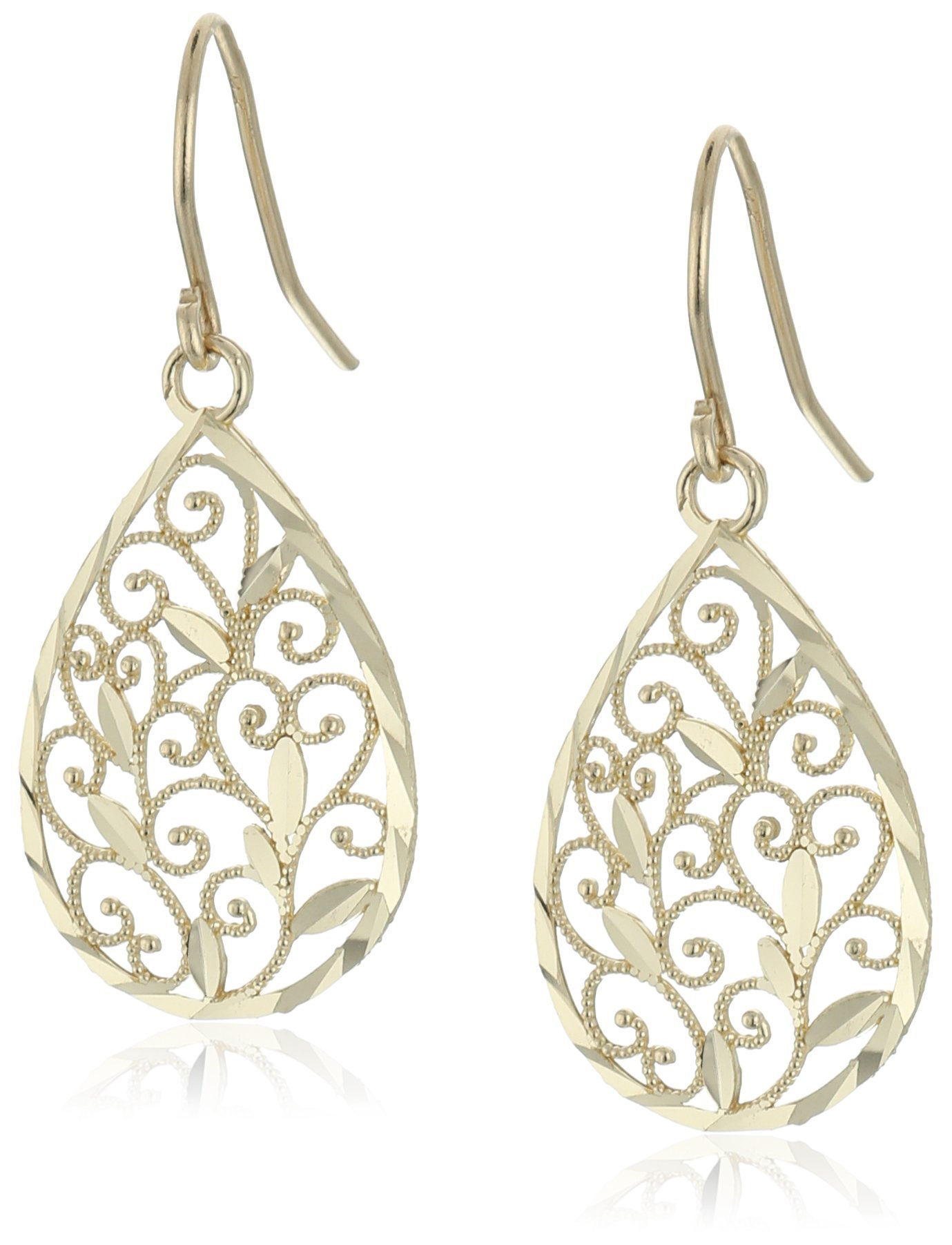 14k Yellow Gold Filigree Teardrop Earrings