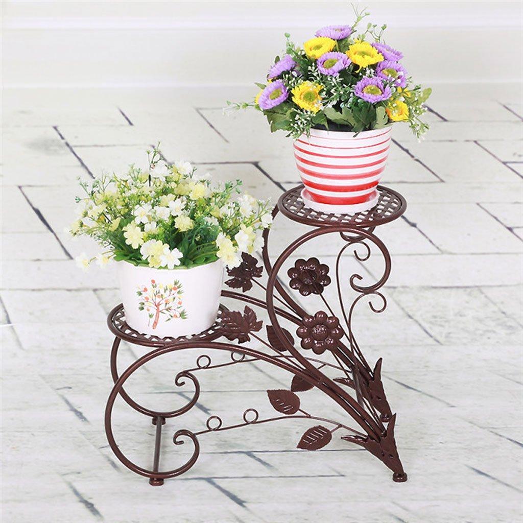 PLL Europäischen Stil Eisen Kunst Blume Stand Garten Doppel Boden Bodentopf Rack Indoor Wohnzimmer Balkon Blumentopf Rack