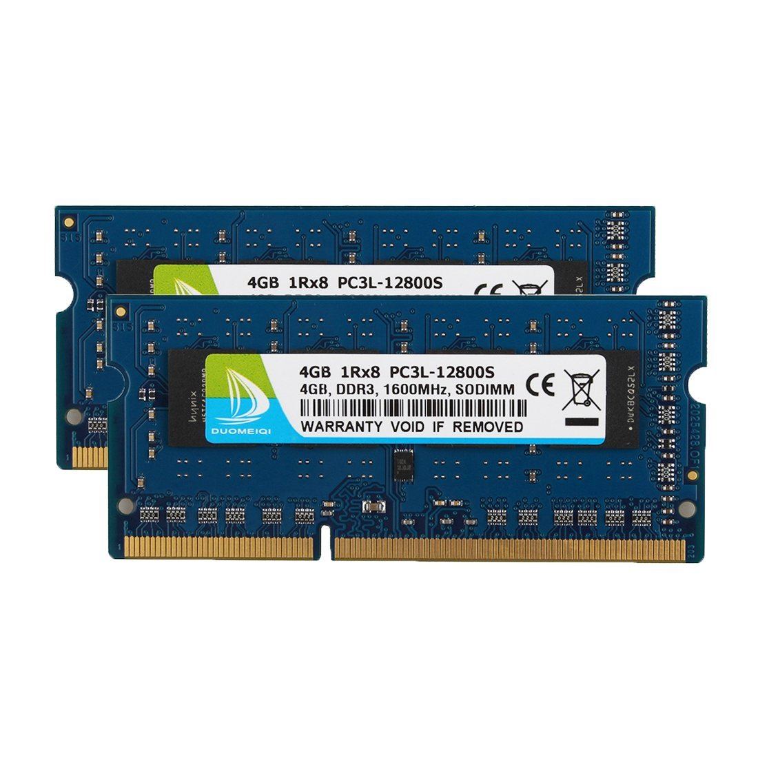 DUOMEIQI 8GB Kit (2 X 4GB) DDR3L 1600MHz Sodimm 1RX8 PC3L-12800S 204pin 1.35v / 1.5v CL11 Unbuffered, Non-ECC Dual Channel Notebook Memory Laptop RAM Module for Intel AMD and Mac System