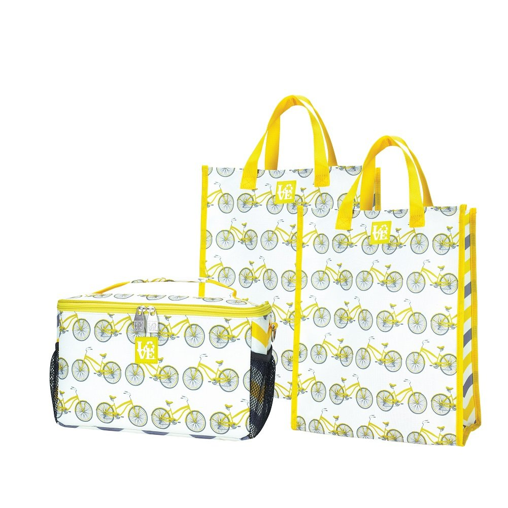 Chillセット断熱クーラーと2 Reusable Grocery Bag Totes Pedal Powerパターンby Loveバッグ B075LXRSW7