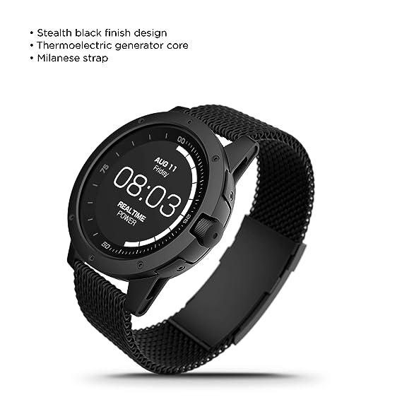 MATRIX Industries - Montre intelligente sans charge - Comptage calorie - Monitoring sommeil - Recharge chaleur corporelle - intégralement noir - 46 mm: ...
