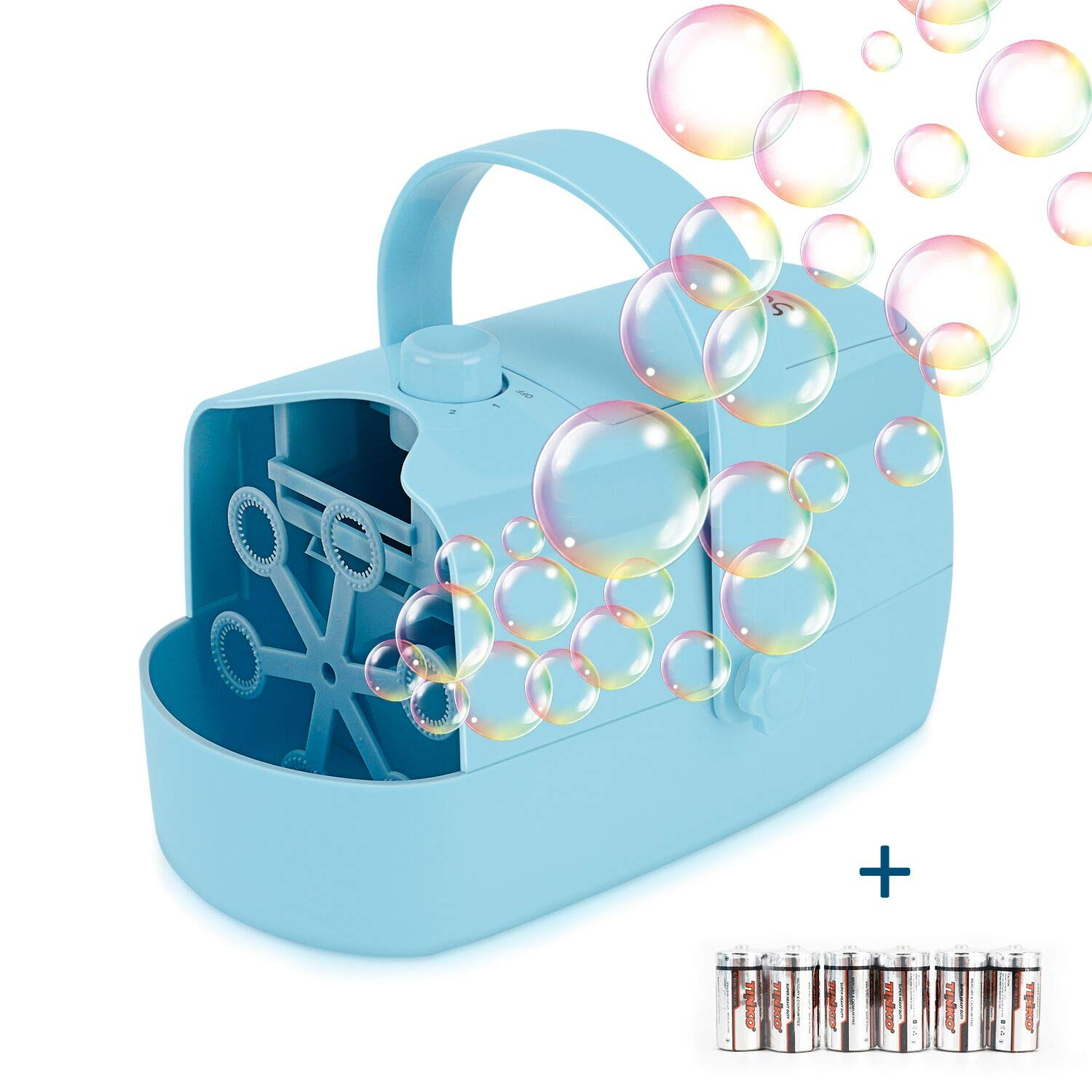 Supkiir Automatic Bubble Machine, Bubble Blower for Kids Powered by Plug-in or Batteries, with Two Bubbles Blowing Speed Levels for Party, Wedding, Outdoor Indoor Toys