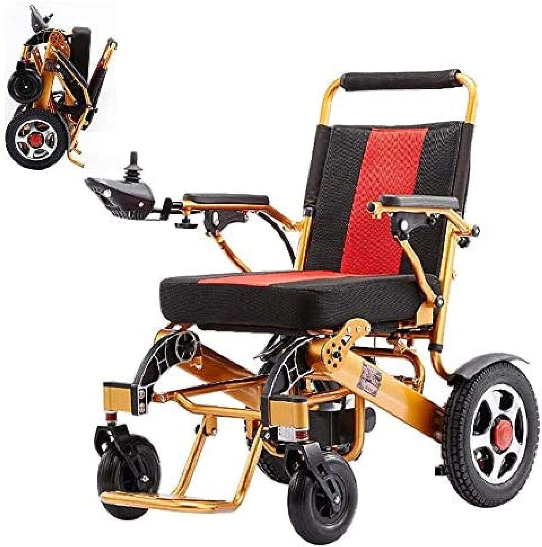 BSJZ Silla de Ruedas eléctrica Plegable, Scooter eléctrico motorizado Ligero de Viaje para Silla de Ruedas, batería de polímero de Iones de Litio