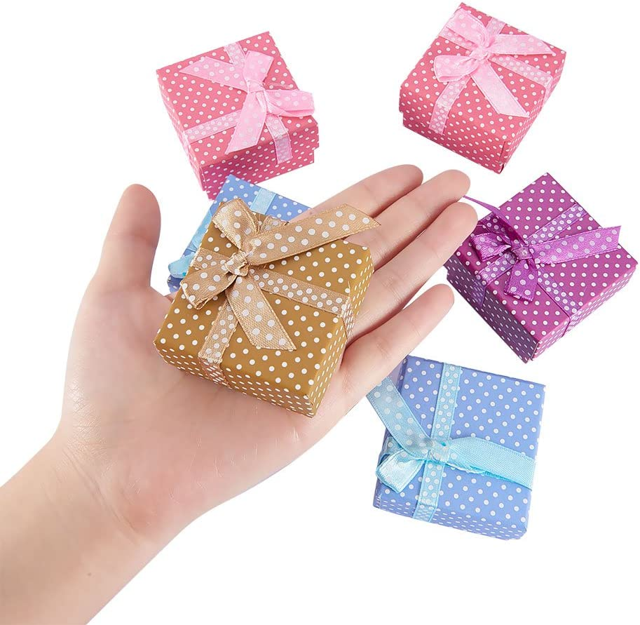 PH PandaHall 12Pcs Cardboard Small Jewelry Boxes Gift Packaging Boxes with Cotton Filled 51x51x31mm for Earring Ring Bracelet and Necklace Mixed Color
