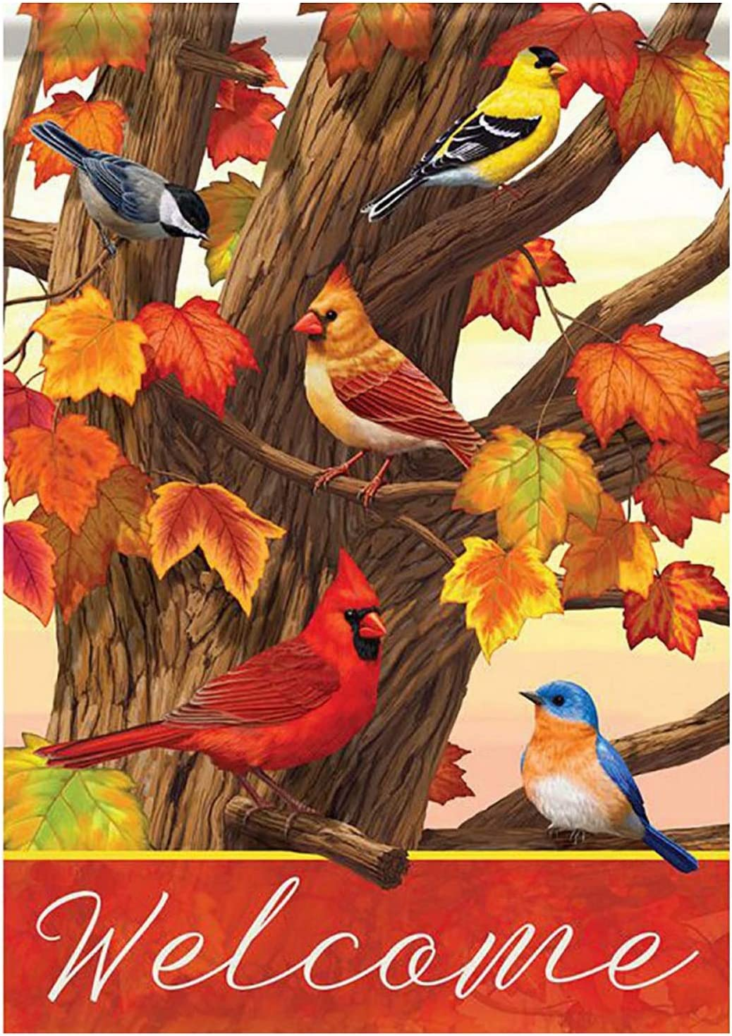 Wamika Cardinal Blue Bird Maple Leaves House Flag 28 x 40 Double Sided, Songbird Gathering Welcome Fall Autumn Garden Yard Flags Outdoor Indoor Seasonal Banner for Party Home Decorations