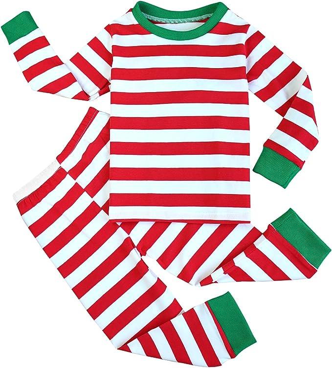 FANCYINN Niño Niña Navidad A Rayas Conjunto de Pijamas Camiseta y Pantalones Algodón Ropa de dormirpor 1-7 años: Amazon.es: Ropa y accesorios