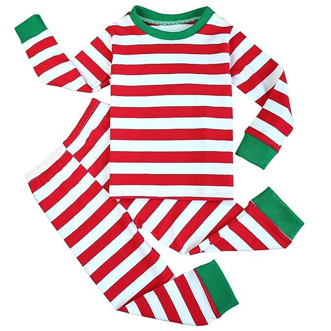 84ebe6a447 Fancyinn Niño Niña Navidad A Rayas Conjunto de Pijamas Camiseta y Pantalones  Algodón Ropa de dormirpor 1-7 años  Amazon.es  Ropa y accesorios