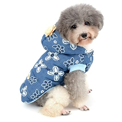 Zunea - Chaqueta para Perro, diseño Floral, Forro Polar, Abrigos, Abrigos de