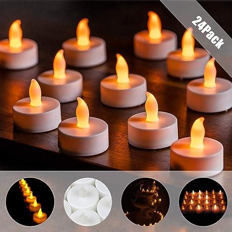 Vela LED, 24 Luces de Té sin Llama CR2032 Velas Led de Té ...