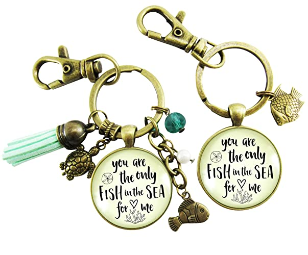 Amazon com: Fishing Keychains Couples Set You Are The Only
