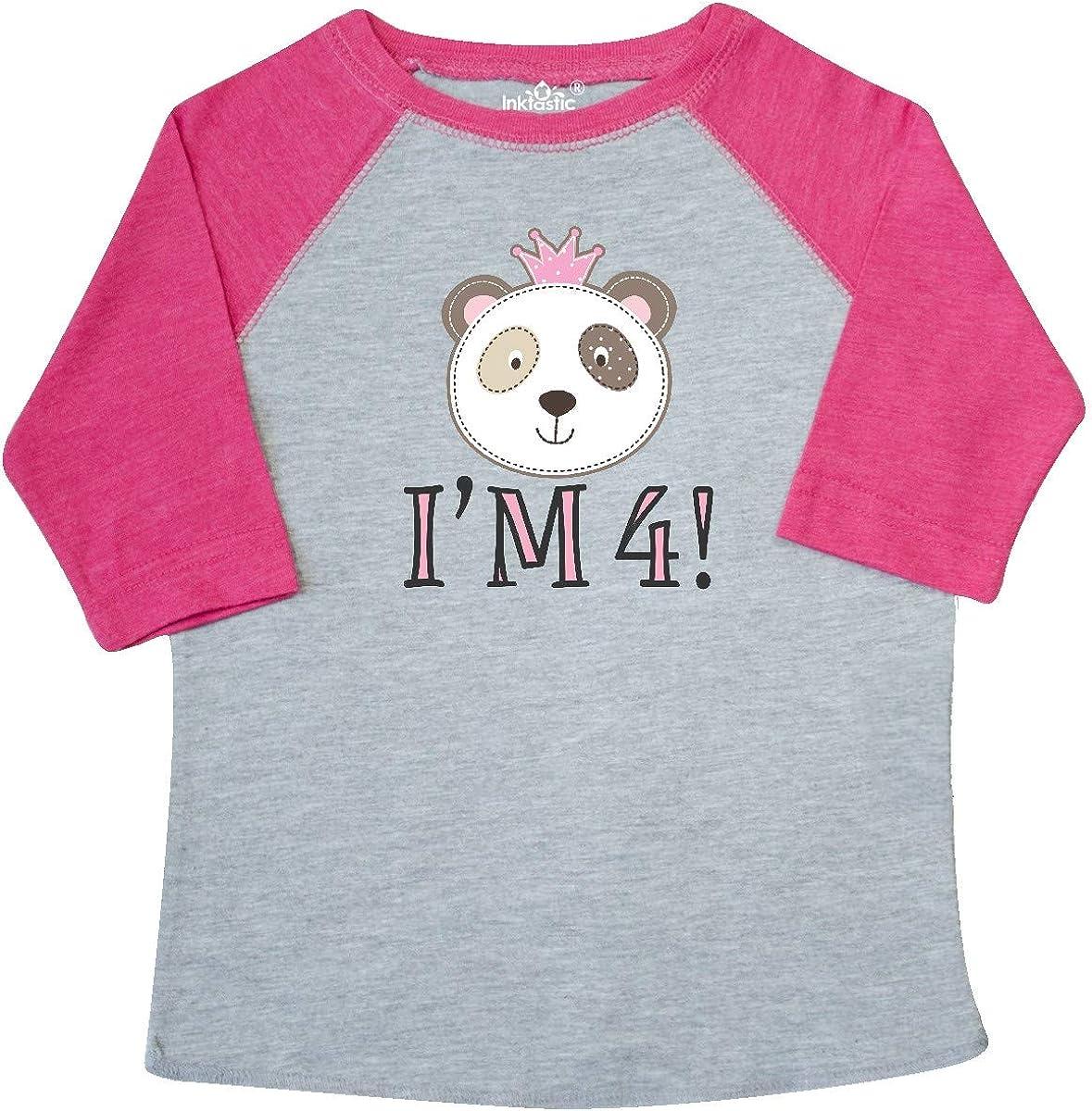 inktastic 4th Birthday Panda 4 Year Old Girl Toddler T-Shirt