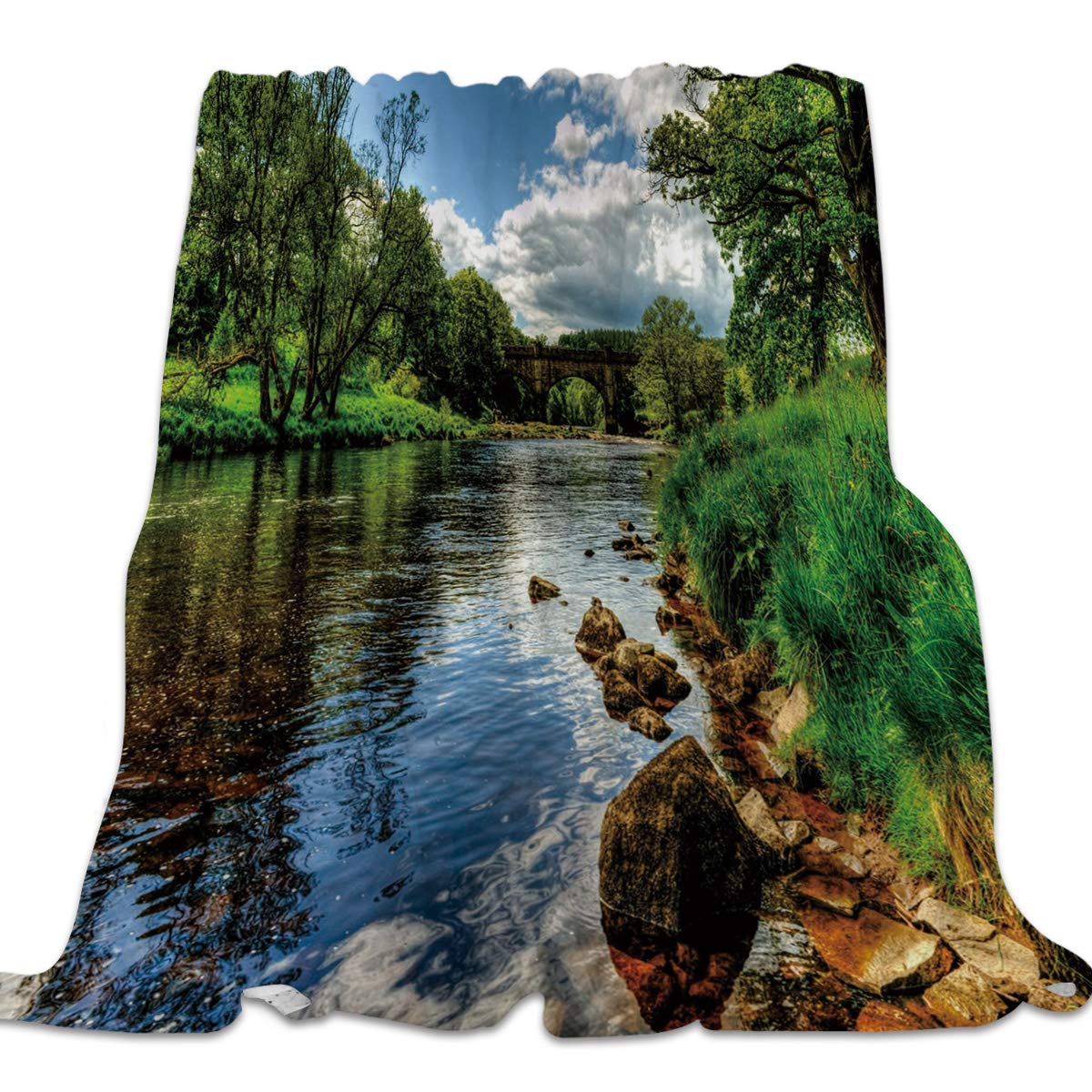 Landscape3yag1002 49x59inch=125x150cm 49x59 Inch Flannel Fleece Bed Blanket Soft ThrowBlankets for Girls Boys,Fashion 3D Dolphin Fish Animal Pattern,Lightweight Warm Kids Blankets for Bedroom Living Room Sofa Couch Home Decor