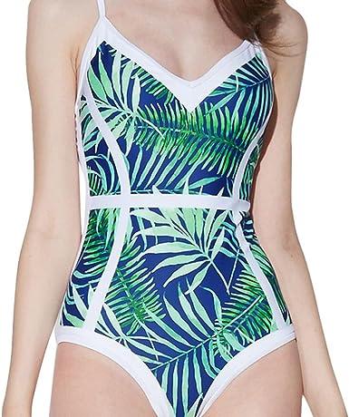Womens Bikini One Piece Printing Dress Beach Wear Backless Tankini