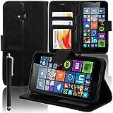 Microsoft Nokia Lumia 640 LTE/ 640 LTE Dual SIM/ 640 Dual SIM: Etui portefeuille cuir PU Livre rabat support vidéo + stylet - NOIR