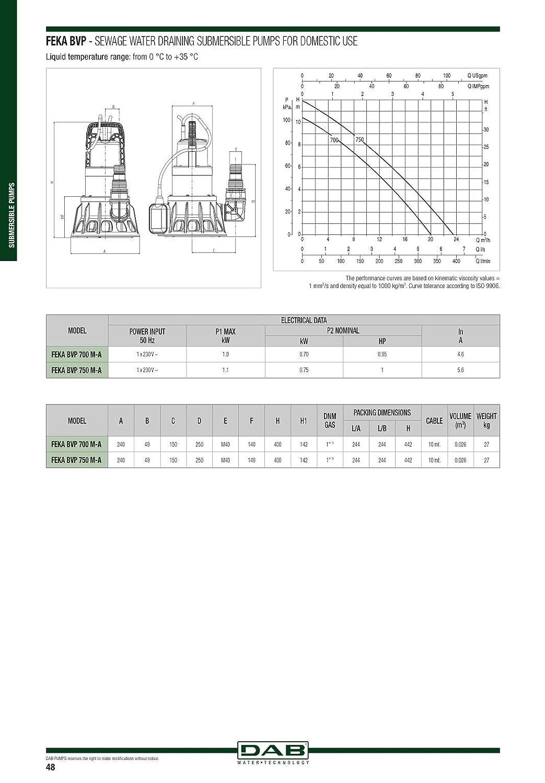DAB FEKA BVP 750 M-A 1 HP 60122691 Bomba centr/ífuga sumergible dise/ñada para la elevaci/ón de aguas negras y aguas residuales