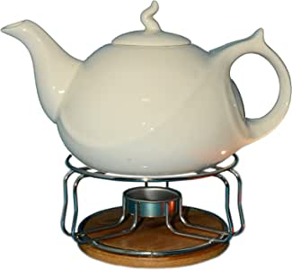 Teapot with Warmer on Bamboo Base