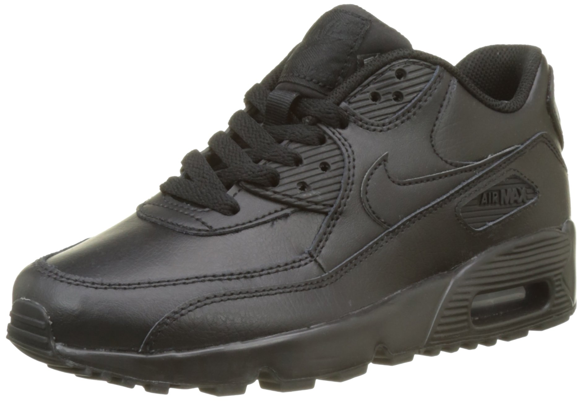 Nike 833412-001 Kid's Air Max 90 Leather Running Shoes, Black/Black, 4 M US Big Kid