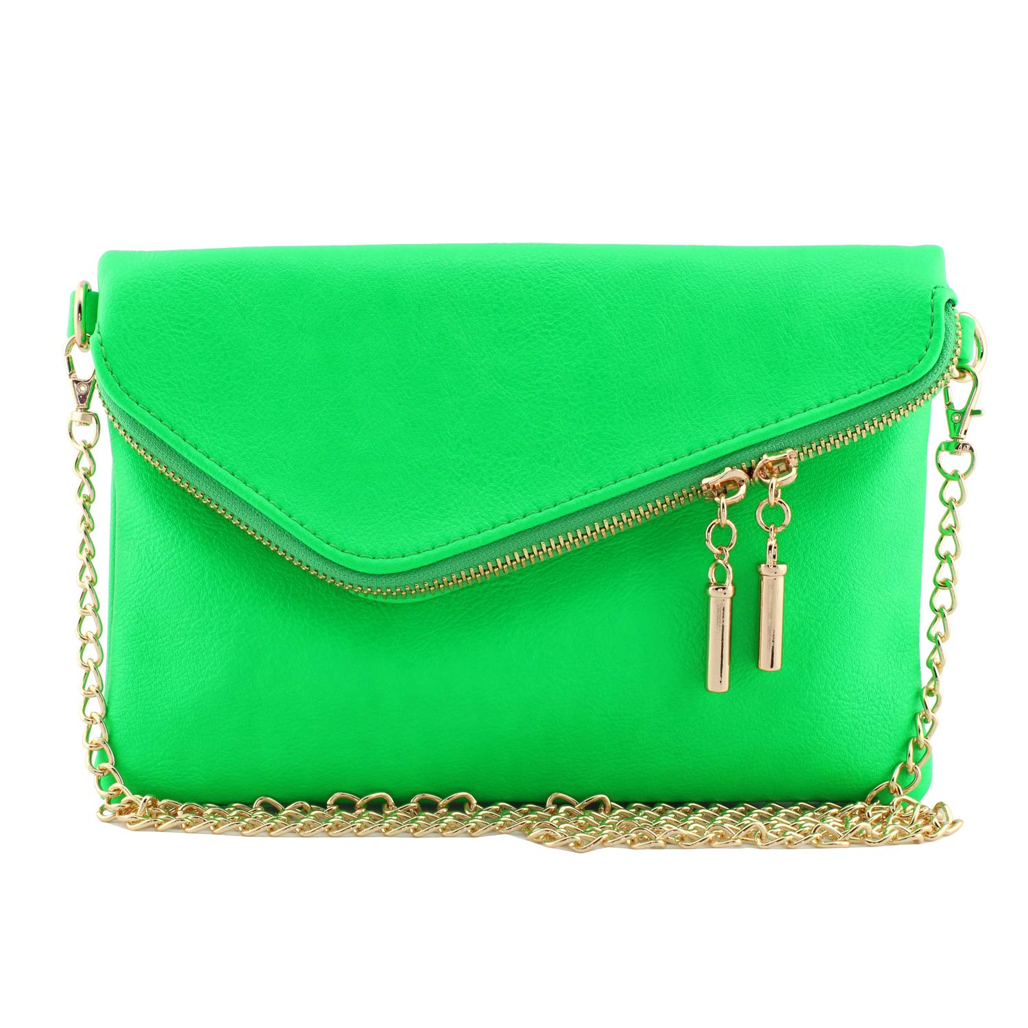 Multi Zipper Pocket Small Wristlet Crossbody Bag and Envelope Wristlet Clutch Crossbody Bag with Chain Strap Fluorescent Neon Colors (Neon Green-envelope) by Amy & Joey