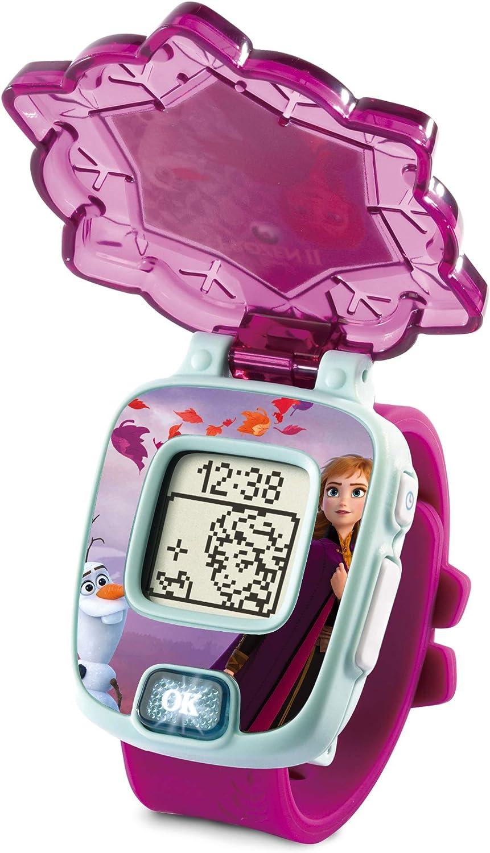 VTech - Frozen II, Reloj mágico educativo Anna, reloj multifunción con diferentes juegos, tapa protectora y pantalla con animaciones de los personajes Elsa, Anna y Olaf, color morado (80-518867)