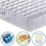 Vesgantti 9.4 Inch Multilayer Hybrid Mattress - Multiple Sizes & Styles Available, Ergonomic Design with Memory Foam and Pocket Spring/Medium Plush Feel - 4FT6 Double