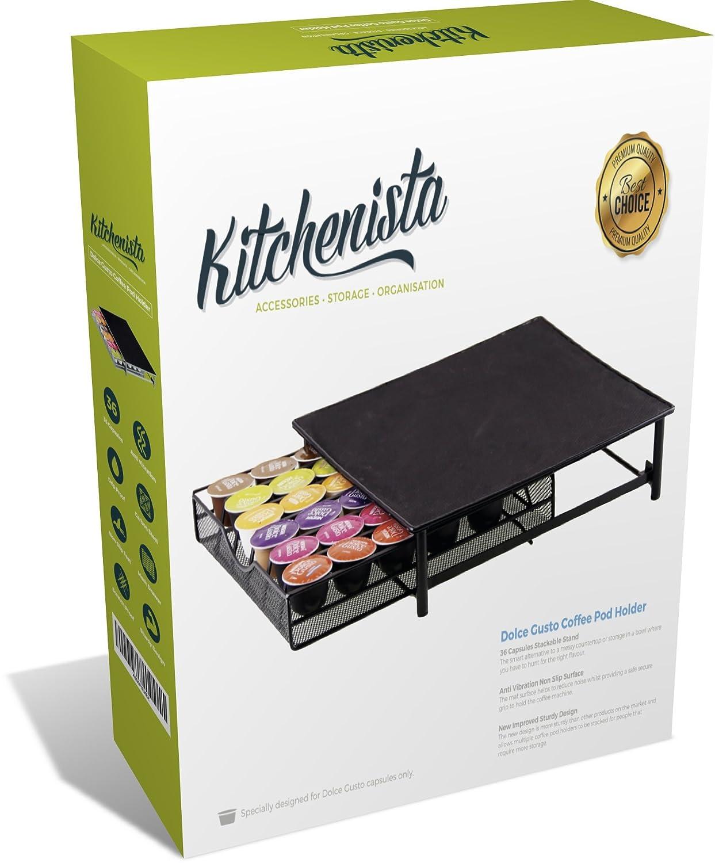 kitchenista Dolce Gusto Soporte de Monodosis de Café - 36 Cápsulas Soporte apilable - Malla cajón rack negro: Amazon.es: Hogar
