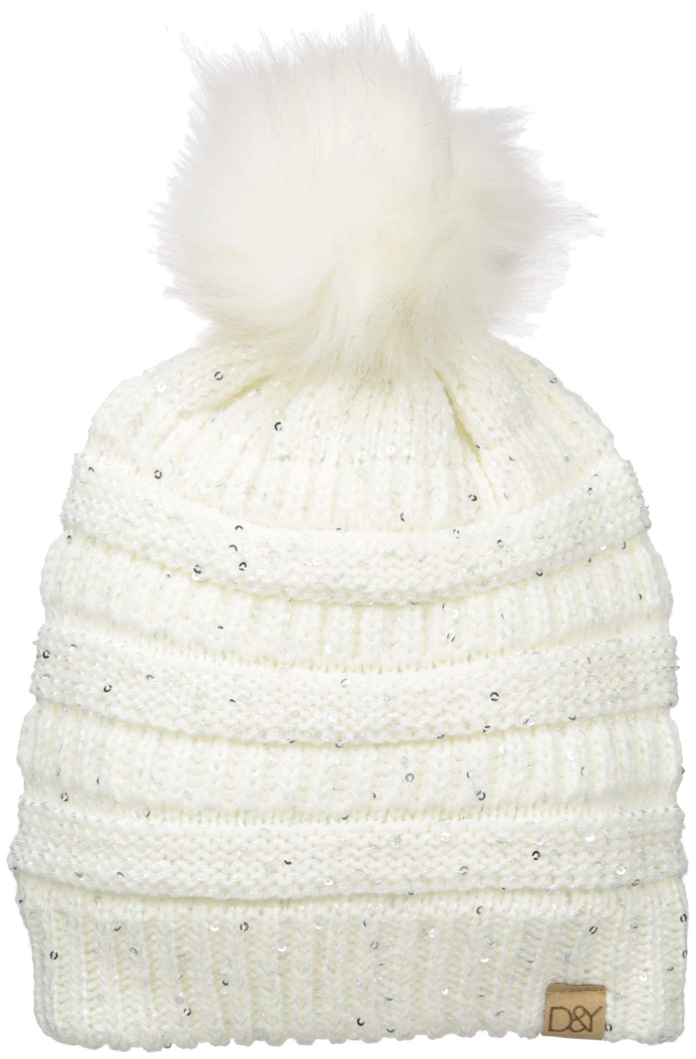 D&Y Women's David and Young's Sequined Slinky Beanie Pom, Off White, One Size