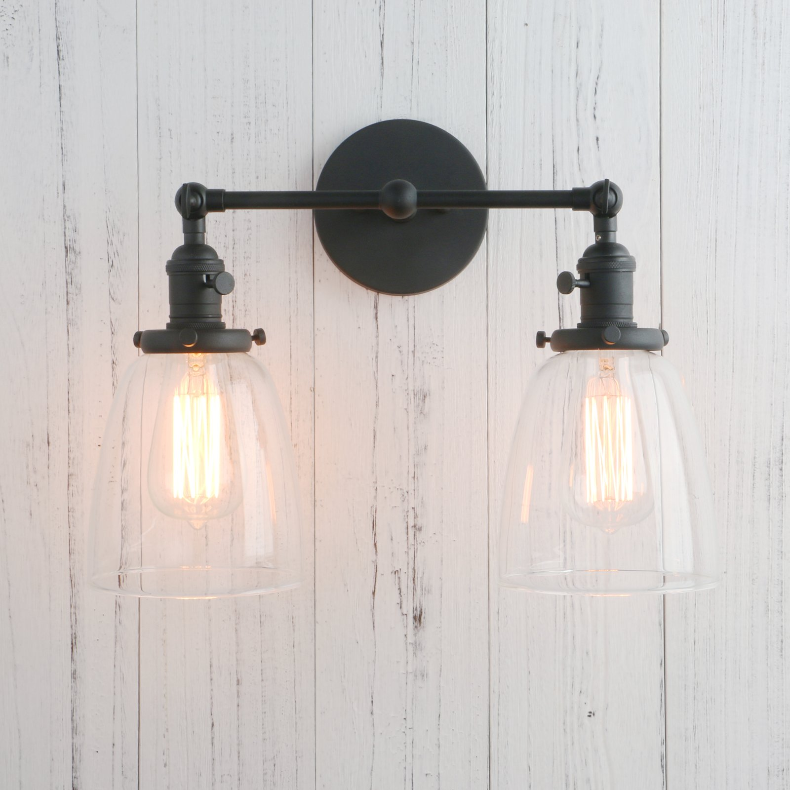 Permo Double Sconce Vintage Industrial Antique 2-Lights Wall Sconces with Oval Cone Clear Glass Shade (Black) by Permo